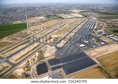 Aerial view of the Chandler, Arizona Airport - stock photo