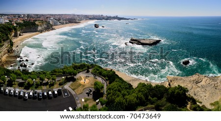 Aerial view of the city center of Biarritz, France - stock photo