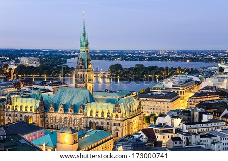 Aerial view of the City Hall of Hamburg, Germany - stock photo