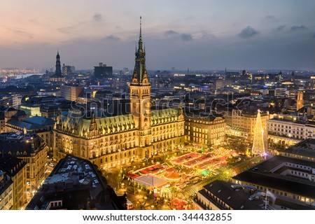 Aerial view of the City Hall with the Christmas market in Hamburg, Germany - stock photo