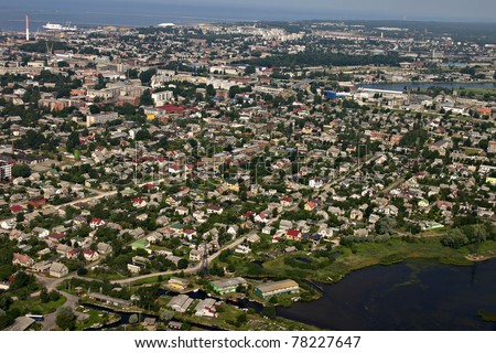 Aerial view of the city, Liepaja, Latvia. - stock photo