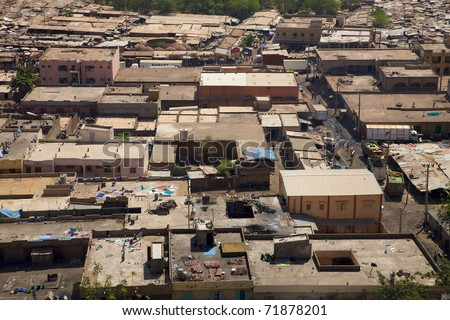 Aerial view of the city of Bamkao in Mali during the day