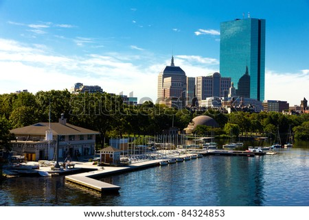 Aerial view of the city of Boston in Massachusetts, USA. - stock photo