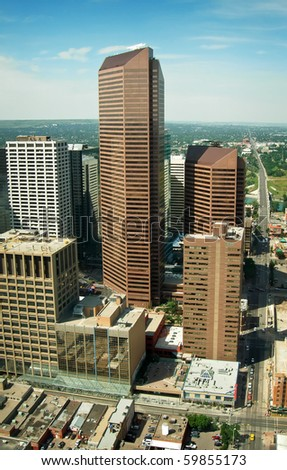 Aerial View of the City of Calgary, Canada - stock photo
