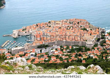 Aerial view of the city of Dubrovnik, the UNESCO world heritage fortress on the Adriatic Sea, where a popular TV drama series was filmed. - stock photo