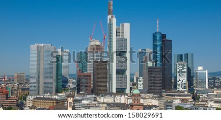 Aerial view of the city of Frankfurt am Main in Germany - wide panoramic view - stock photo