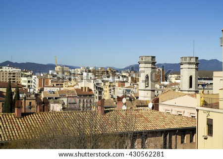 Aerial view of the city of Girona from the route over medieval walls. Catalonia