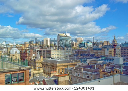 Aerial view of the city of Glasgow, Scotland - stock photo