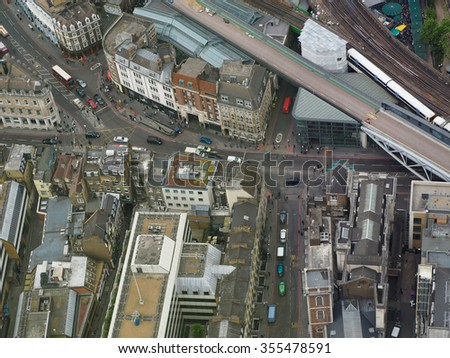 Aerial view of the city of London, UK