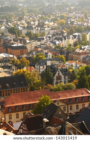 Aerial view of the city of Marburg, Germany.