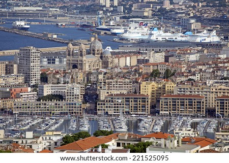 aerial view of the city of marseille in france - stock photo