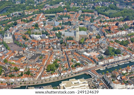 Aerial view of the city of Middelburg in the province of Zeeland, the Netherlands