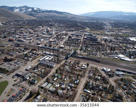 Aerial view of the city of Missoula Montana. - stock photo