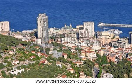 Aerial view of the city of Monaco - stock photo