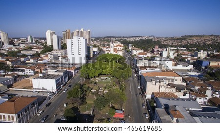 Aerial view of the city of Sao Joao da Boa Vista in Sao Paulo state in Brazil. July, 2016.