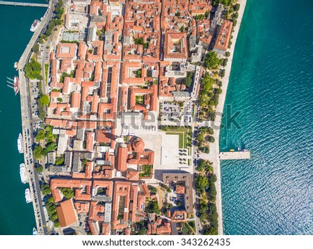 Aerial view of the city of Zadar in Croatia. - stock photo