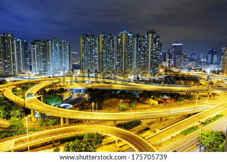 aerial view of the city overpass at night, Hong Kong, Asia  - stock photo