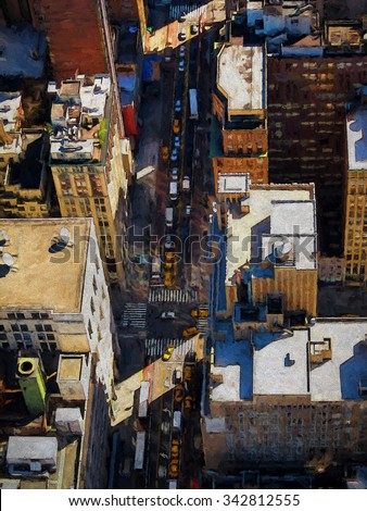 Aerial view of the city streets of Manhattan turned into a colorful painting - stock photo