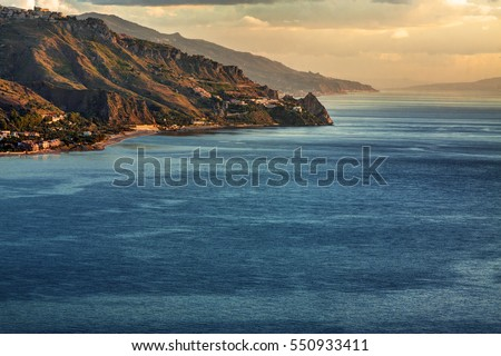 Aerial view of the coastline in Sicily (Italy) between Taormina and Forza d'Agr�².
