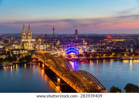 aerial view of the cologne cathedral at sunset, germany - stock photo