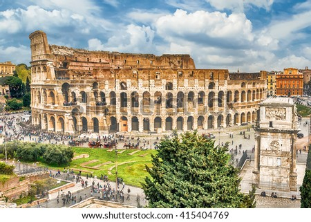 Aerial view of the Colosseum and Arch of Constantine, Rome, Italy - stock photo