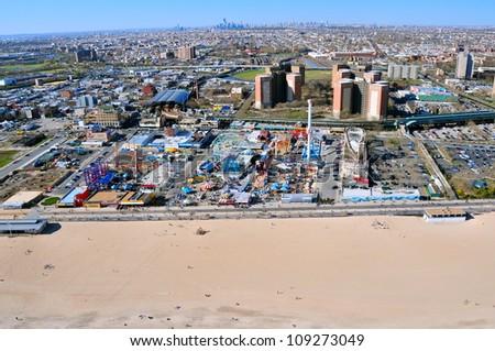 Aerial view of the Coney Island Luna Park, New York, USA - stock photo