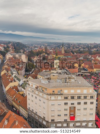 Aerial view of the croatian capital Zagreb, sky scape, market place