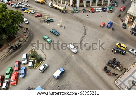 Aerial view of the crossroads at Parque Central with Paseo Prado and Neptuno. Viewed from above. Havana, Cuba. - stock photo