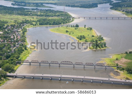 Aerial view of the Des Prairies river near Montreal. - stock photo