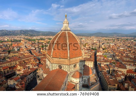 Aerial view of the Dome of Duomo, Florence, Italy - stock photo