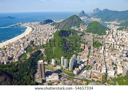 Aerial view of the dramatic Rio De Janeiro Coast - stock photo