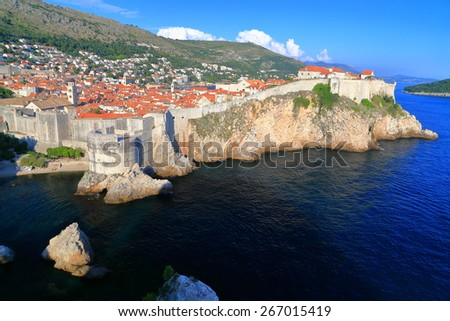 Aerial view of the Dubrovnik old town and blue Adriatic sea, Croatia - stock photo