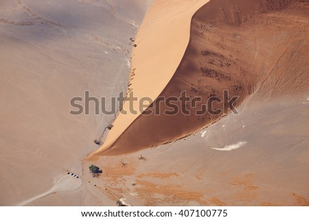 Aerial view of the Dune 45 in Sossusvlei, Namibia, Africa