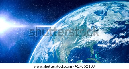 Aerial view of the Earth from the space