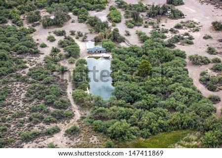 Aerial view of the Eden Hot Springs in Southeast Arizona - stock photo