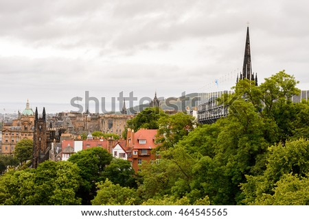 Aerial view of the Edinburgh, Scotland. Old Town and New Town are a UNESCO World Heritage Site