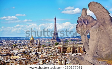 Aerial view of the Eiffel Tower from Notre Dame de Paris - stock photo