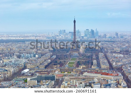 Aerial view of the Eiffel tower seen from the Montparnasse tower - stock photo