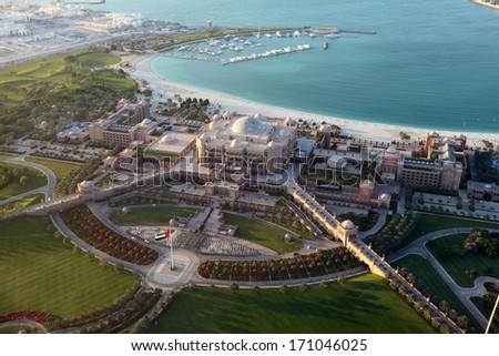 Aerial view of the Emirates Palace in Abu Dhabi, United Arab Emirates - stock photo