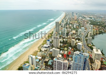 Aerial view of the famed Gold Coast in Queensland Australia looking from Surfers Paradise down to Coolangatta. - stock photo