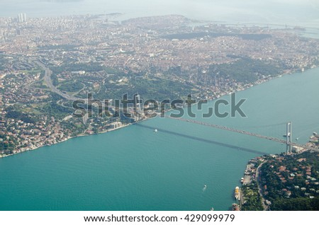 Aerial view of the First Bosphorus Bridge spanning the Bosphorus in Istanbul, Turkey.  The suspension bridge links Europe and Beylerbeyi in Asia.