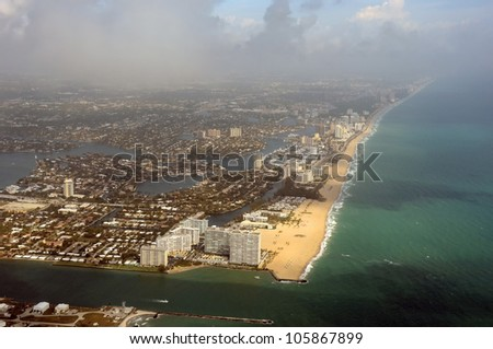 Aerial view of the Fort Lauderdale, Florida coastline - stock photo
