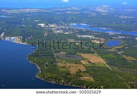 aerial view of the Georgian bay shoreline near Penetanguishene, Ontario Canada