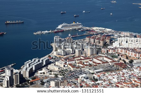 Aerial view of the Gibraltar city and harbor - stock photo