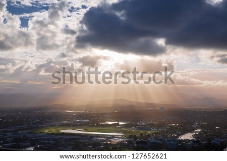 Aerial view of the Gold Coast hinterland, Queensland, Australia - stock photo