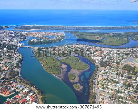 Aerial view of the  Gold Coast in Queensland Australia - stock photo