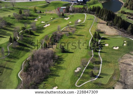 Aerial view of the golf club in southern Ontario - stock photo