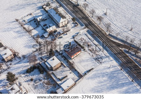 aerial view  of the harvest fields in winter near Otmuchow town  in Poland