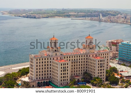 Aerial view of the Havana shore from El Vedado to the bay entrance - stock photo