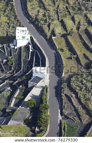 aerial view of the highland in Lanzarote. Lanzarote is a volcanic island in the atlantic ocean and one of the canary islands. - stock photo